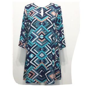 EVERLY Geo Print Fully Lined 3/4 Sleeve Dress S